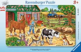 Ravensburger 06035 Rahmenpuzzle Glückliches Bauernhofleben 15 Teile