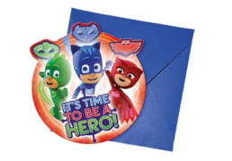 PJ Mask Einladungskarten inkl. Umschläge 6 Stück
